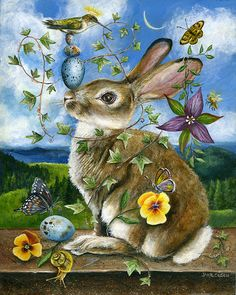 PETER COTTONTAIL~ Bunny & hummingbird Small work/ Series II