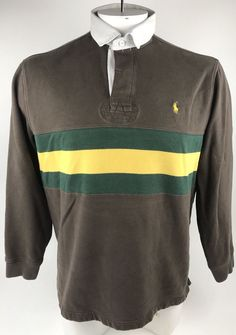 8a5ac588a POLO Ralph Lauren RUGBY Custom Fit Brown Green Yellow Stripe Mens Large LS  Shirt