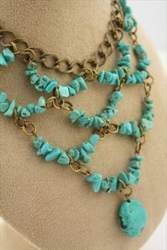 beaded jewelry Scalloped Bib Necklace created with turquoise stone chips and antique brass chain. - A gorgeous collection of my handcrafted boho chic turquoise pieces. Wire Jewelry, Boho Jewelry, Jewelry Crafts, Beaded Jewelry, Jewelery, Jewelry Necklaces, Handmade Jewelry, Fashion Jewelry, Jewelry Ideas