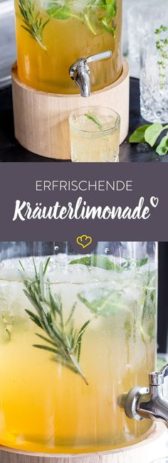 Apfel-Kräuter-Limonade mit Wacholderbeeren Herbal lemonade gives summiteers new impetus. The thirst quencher made of fresh herbs, lemons and apple juice … Detox Drinks, Healthy Drinks, Healthy Detox, Easy Detox, Cocktail Drinks, Cocktail Recipes, Natural Detox, Natural Herbs, Veggie Juice