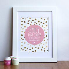 Digital custom Baby Girl Birth Print gold by MiniMoiPrints on Etsy