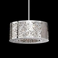 "New 8 Lamp Drum Shade Crystal Chandelier Pendant Ceiling Light Stainless DIA20"" | eBay"