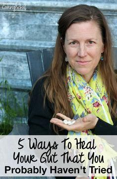 5 Ways To Heal Your Gut That You Probably Haven't Tried | What if you've done a gut-healing diet... and it didn't work? This post explores some of the lesser-known ways to address gut health -- things you probably haven't tried yet! And bonus! 2 of these practical remedies are FREE! | TraditionalCookingSchool.com #StomachFatBurningFoods Natural Cough Remedies, Cold Home Remedies, Natural Remedies For Anxiety, Natural Health Remedies, Natural Cures, Herbal Remedies, Natural Skin, Gut Healing Diet, Best Fat Burning Foods