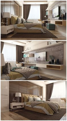 Small Bedroom Ideas - All the bedroom design ideas you'll ever need. Find your design and create your dream bedroom plan whatever your spending plan, style or area size. Hotel Room Design, Bedroom Bed Design, Tv In Bedroom, Modern Bedroom Design, Bedroom Colors, Home Interior Design, Bedroom Decor, Bedroom Designs, Bedroom Ideas