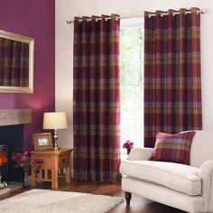 Lewis Check Plum Eyelet Curtains | Dunelm