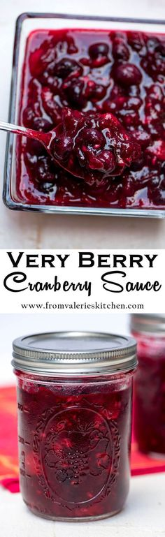 A mixture of fresh cranberries, blueberries and raspberries combine to create a beautifully festive Very Berry Cranberry Sauce.