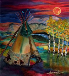 """""""Camp of the Hunting Moon"""" by Anderson R Moore at Fine Art America."""