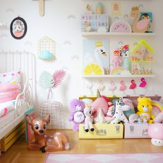 Pastel amazingness, a lovely Shelfie for a girls bedroom featuring my ombré flamingoes and carebears!! thanks to Kidsdesignlife for an amazing capture, #swan #nursery #kidsbedroom #flamingo #carebears #unicorns #shelfie #kidsshekfie #kidsdesignlife