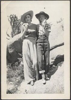 Inspiration: Vintage western wear, 1940s camping desert women casual western wear hats pants jeans trousers shirt top shoes bananas found photo print 40s