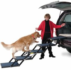 Pet Loader Dog Ramp - two of our three senior dogs were having trouble jumping into - and even more trouble jumping down from - our Jeep Grand Cherokee. This product has been fantastic! Two of our dogs learned it almost immediately, our oldest, who suffers from vertigo and depth perception problems, took a little longer but even she only required a couple of 10-minute sessions to master it. Now we can all enjoy road trips again!