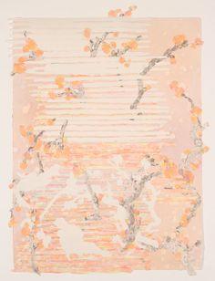 """Upon Waking"" Mixed Media: handmade paper, pigmented pulp, acrylic, 24×32 Charlene Liu http://www.cullowheemountainarts.org"
