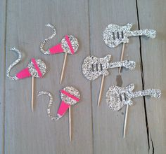 Diva Rock Star cupcake toppers or Decorative Food Picks-Glitter Mircophone and Guitar Decorations