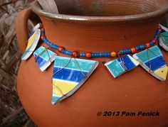 String beads and broken china to make a pot necklace
