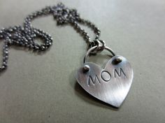 Mom Heart Charm Necklace by ChrissyGemmillJewels on Etsy, $52.00