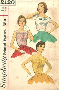 Simplicity 2120 / Vintage 1950s Sewing Pattern / Blouse / Size 14 Bust 34