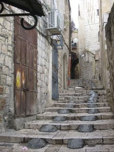 This photograph is of a stairway in Old Jerusalem in Israel. Photo by Rebecca Plotnick.