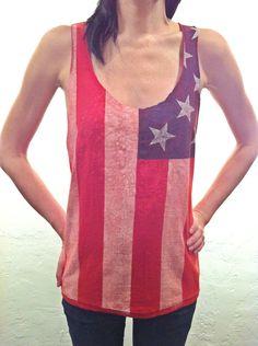 Versatile team USA top!    American Flag Shirt Americana Tank Top Patriotic Deep Cut., via Etsy.com, Shop: AlterEgoPhoenix