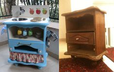 old furniture???   another idea for a childs little kitchen!!!   so cute