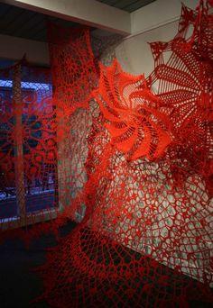 Ashley V. Blalock. Keeping Up Appearances, Installation 3, Phoenix Hotel, SF, 2012. Cotton yarn