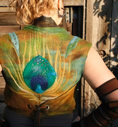 Nuno - felted wool vest - peacock feather - elven clothing - merino wool - MADE TO ORDER. $195.00, via Etsy.