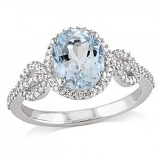 1 5/8 Ct Oval Aquamarine & Round Diamond 10K White 10K White Gold Solitaire Ring by JewelryHub on Opensky
