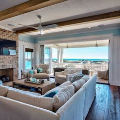 dreamy beach house family room *sigh* Can you even imagine? I knew right away when I saw this home that it was located in WaterSound, the idyllic coastal community along in Florida inspired by the architectural styles of Ca… Beach Cottage Style, Coastal Cottage, Coastal Homes, Beach House Decor, Beach Homes, Coastal Style, Cottage Art, Beach Front Homes, Beach House Rooms