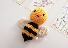 Little Bumble Bee Amigurumi Free Crochet Pattern - Crochet For You Crochet Baby Mittens, Crochet Bee, Crochet Beanie Pattern, Mittens Pattern, Crochet Patterns Amigurumi, Cute Crochet, Crochet Dolls, Crochet Yarn, Quick Crochet Patterns