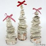 Make these easy Scrappy Christmas Trees with old book pages and birch slices! Perfect addition to your holiday decor!
