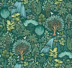 Emerald Forest Woodland Forrest Nursery Fabric Printed by Spoonflower BTY Mid Century Modern Curtains, Teal Cushions, Motif Vintage, Spoonflower Fabric, Surface Design, Surface Pattern, Custom Fabric, Natural Texture, Woodland
