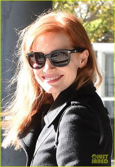 8a3754fb0a2 Jessica Chastain looks happy after landing at JFK Airport on Sunday  afternoon (November 2) · Tom Ford EyewearTom ...
