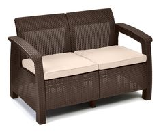 Outdoor Loveseat Sofa Couch Chair Seat Wicker Furniture Garden Patio Pool Deck #Keter