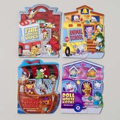 Fan Tab U Lus Bulk Board Books. Available in doll house kitty, fire house dogs, pirate animals and animals school. Cheap bulk wholesale books for children.