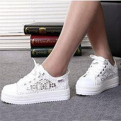 Women Shoes Summer 2018 fashion Casual Cutouts Lace Canvas Hollow Breathable Platform Flat Shoes woman tenis feminino
