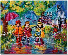 I love Katerina Mertikas' illustrations of children in the rain.