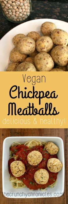 Vegan Chickpea Meatball recipe - a delicious and healthy alternative. Throw into tomato sauce over pasta, add to soups, or just eat a bowl of them!