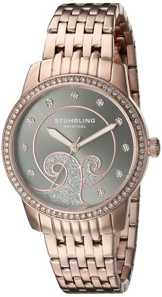 Stuhrling Original Women's 569.05 Coronet Quartz Swarovski Crystals Rose Tone Multi-Row Link bracelet Watch *** Find out more about the great watch at…