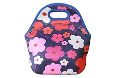 """Insulated Lunch Tote Cooler Bag Made With Fine Neoprene Material, Taste Of Home, School-Camping-Beach-Picnic-Travelling-Office [ 11""""x11""""x5.5"""" ] ( Happy Flowers) *** See this great product."""