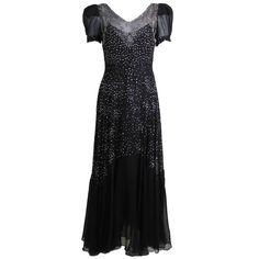 1930s Gorgeous Chiffon Gown with Rhinestone Starbursts