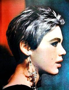 Edie Sedgwick with silver hair.