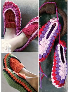 Crochet slippers with this crochet slipper pattern Crochet Boots, Crochet Art, Crochet Slippers, Love Crochet, Crochet Crafts, Crochet Clothes, Easy Crochet, Crochet Projects, Diy Crafts