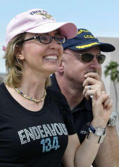 Gabby Gifford and husband Mark Kelly watching space shuttle Endeavour fly over Tucson on its way to Edwards Air Force base, north of Los Angeles. Columbus State University, Edwards Air Force Base, Mark Kelly, State Of Arizona, Important People, Great Women, Space Shuttle, Astronaut