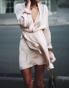 blush silk wrap dress