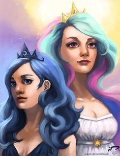 Celestia and Luna by *Majoh on deviantART