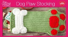 Dog Paws Christmas Stocking Tutorial, free PDF pattern and video links. Follow the link to RedHeart. Too cute to pass up. © 2011 Michele Wilcox, Michael Sellick, Coats & Clark.