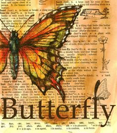 PRINT: Butterfly Drawing on Distressed Dictionary by flyingshoes