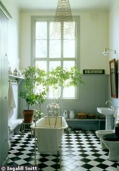 Black-white and tongue and groove -- Gunnel Sahlin's bathroom in Sweden -- It's just missing a shower, otherwise, perfect! Bathroom Plants, Bathroom Wall Decor, Bathroom Styling, White Bathroom, Small Bathroom, Modern Bathroom, Bathroom Interior, Black And White Tiles, Black White