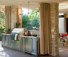 Create an outdoor kitchen, complete with grill, sink, under counter refrigerator, wine cooler, and eating area. Have money left over? Add a tiki bar to create a fun party atmosphere.