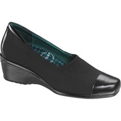 SALE - Aetrex Andrea Wedge Heels Womens Black Fabric - Was $130.00 - SAVE $24.00. BUY Now - ONLY $106.45.