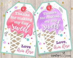 Ice Cream Favor Tags - Ice Cream Thank You Tags - Watercolor Party Favors Girl Ice Cream Party Printables
