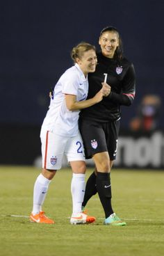 Meghan Klingenberg and Hope Solo after their 3-0 victory over China in San Diego. (Christopher Hanewinckel/USA Today Sports)